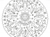 Coloring page mandala with cat, bird and flowers. SPRING. Vector Illustration.